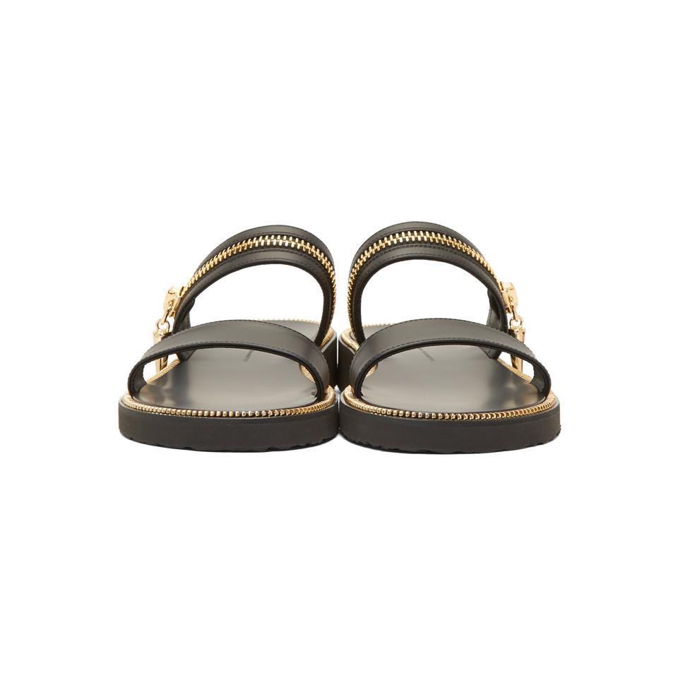 bdee7d05f8563 Giuseppe Zanotti - Black Gold Zip Sandals for Men - Lyst. View fullscreen