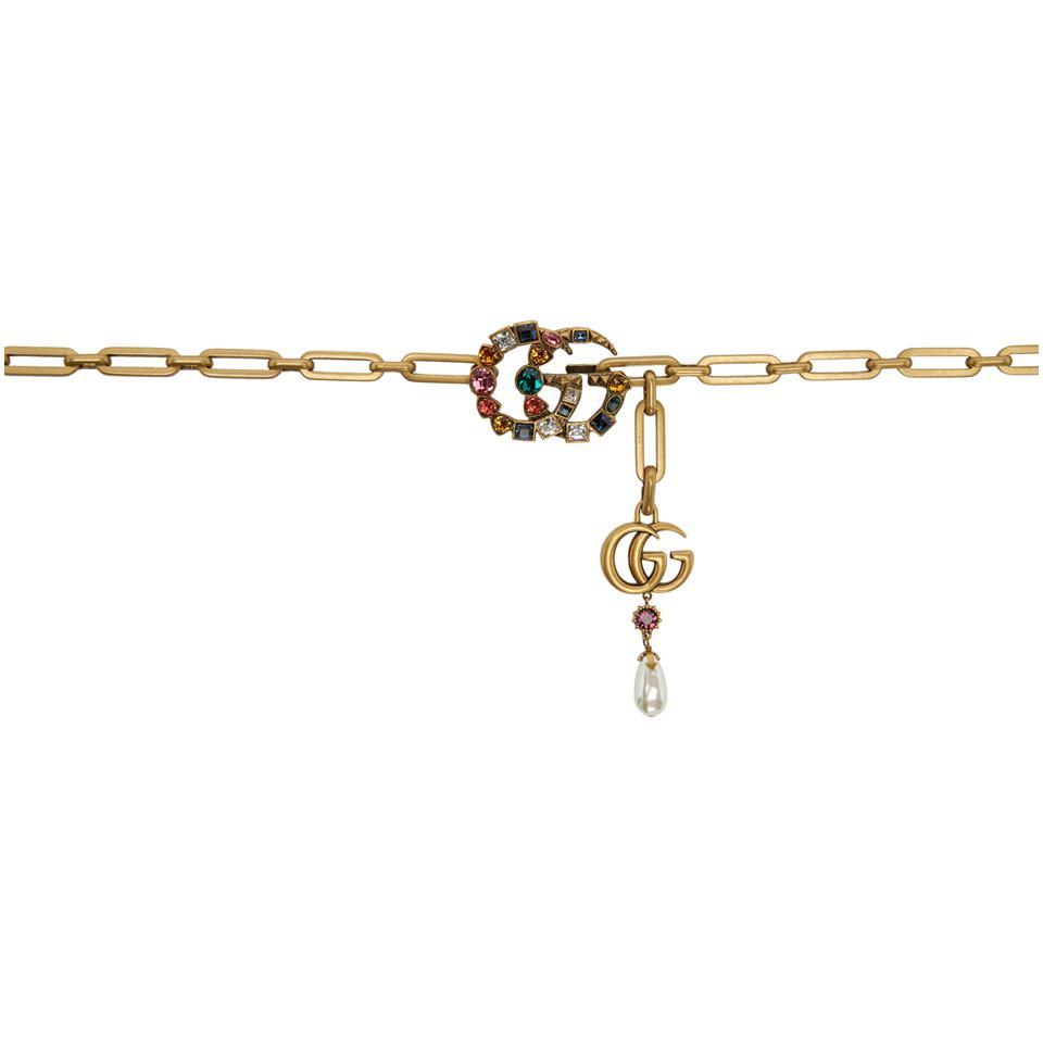 Lyst - Ceinture en chaine doree Crystal GG Gucci en coloris Métallisé 40eecbec5fa