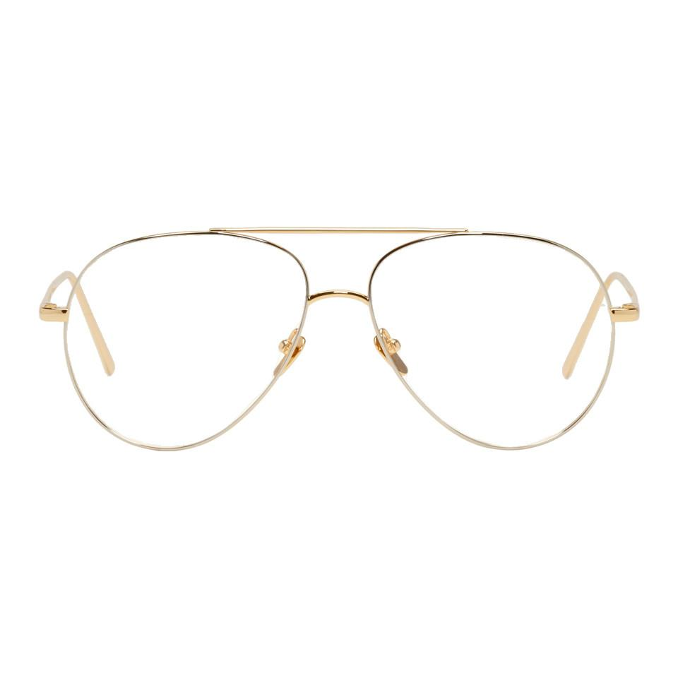 be69267691e Lyst - Linda Farrow Yellow And White Gold 666 C7 Aviator Glasses