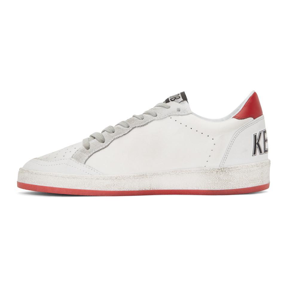 Golden Goose White & Red Crack Ball Star Sneakers jOctgtvGb