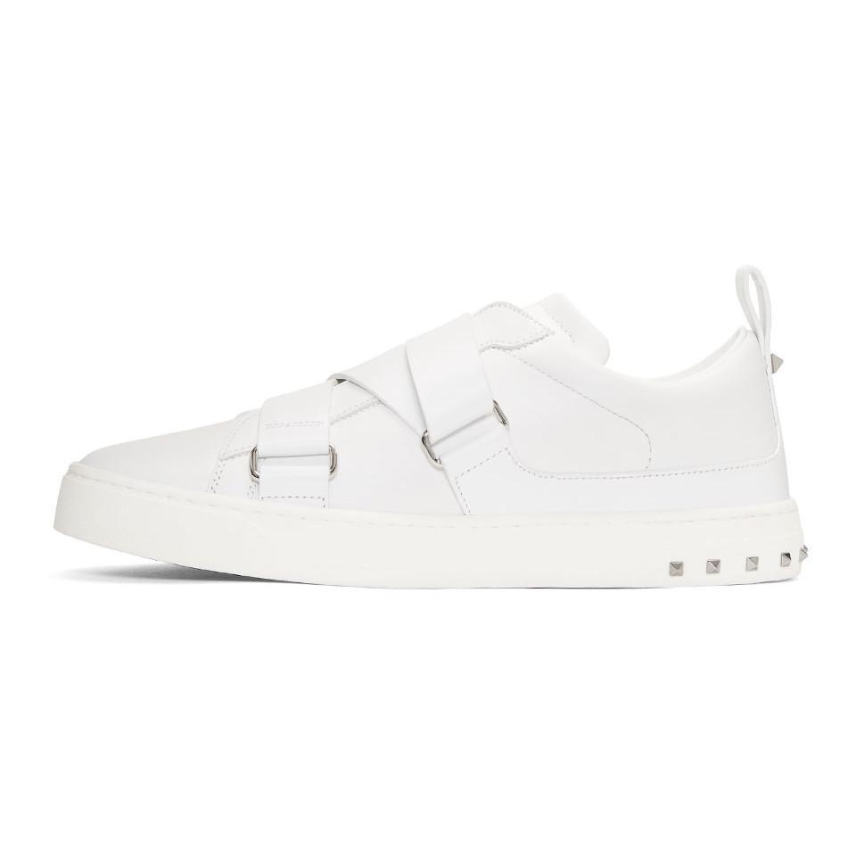 6a4040fcdbd3e Valentino White Garavani V-punk Strap Sneakers in White for Men - Lyst