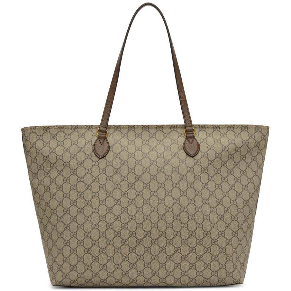 2f1e906d2623 Gucci Brown Ophidia Tote in Natural - Lyst