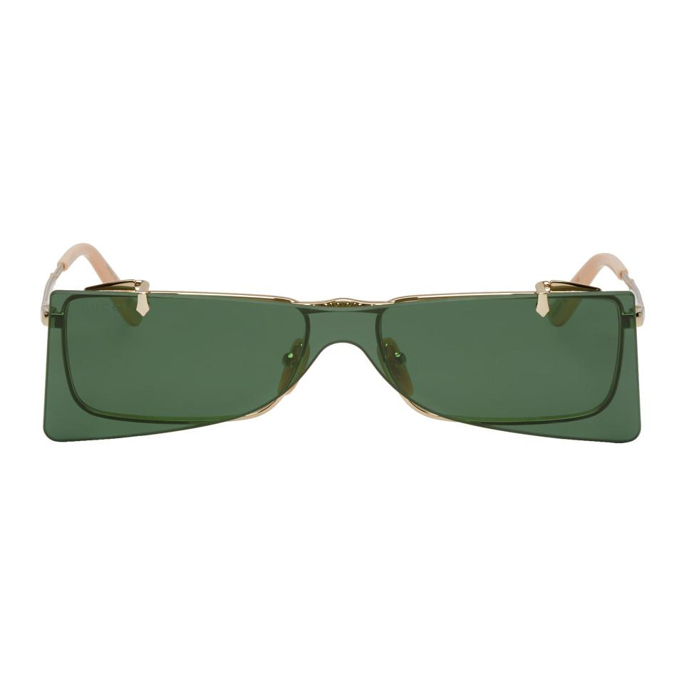 dd486084458 Lyst - Gucci Gold Square Frame Flip-up Sunglasses in Metallic