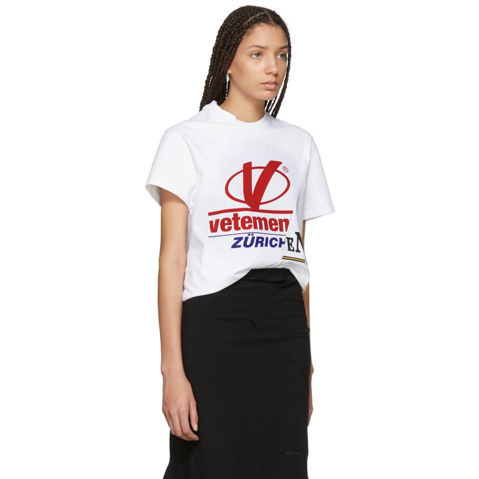 Lyst Vetements White Cut Up Zurich T Shirt In White