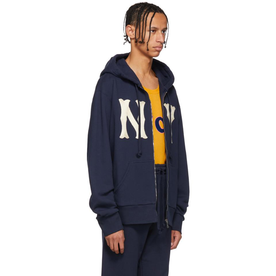 b1877971ba0 Gucci Navy Ny Yankees Edition Patch Zip Hoodie in Blue for Men - Lyst