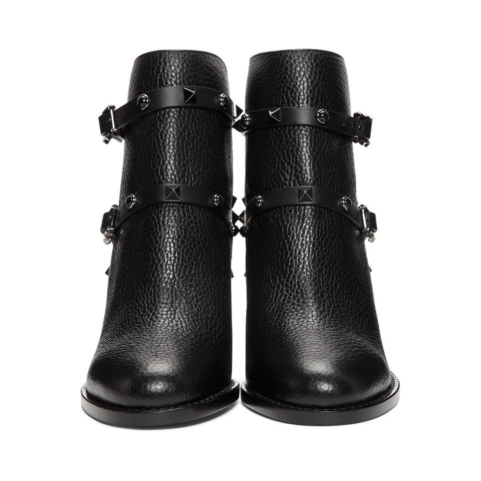 c6e187ed009e Valentino - Black Garavani Rockstud Block Heel Ankle Boots - Lyst. View  fullscreen