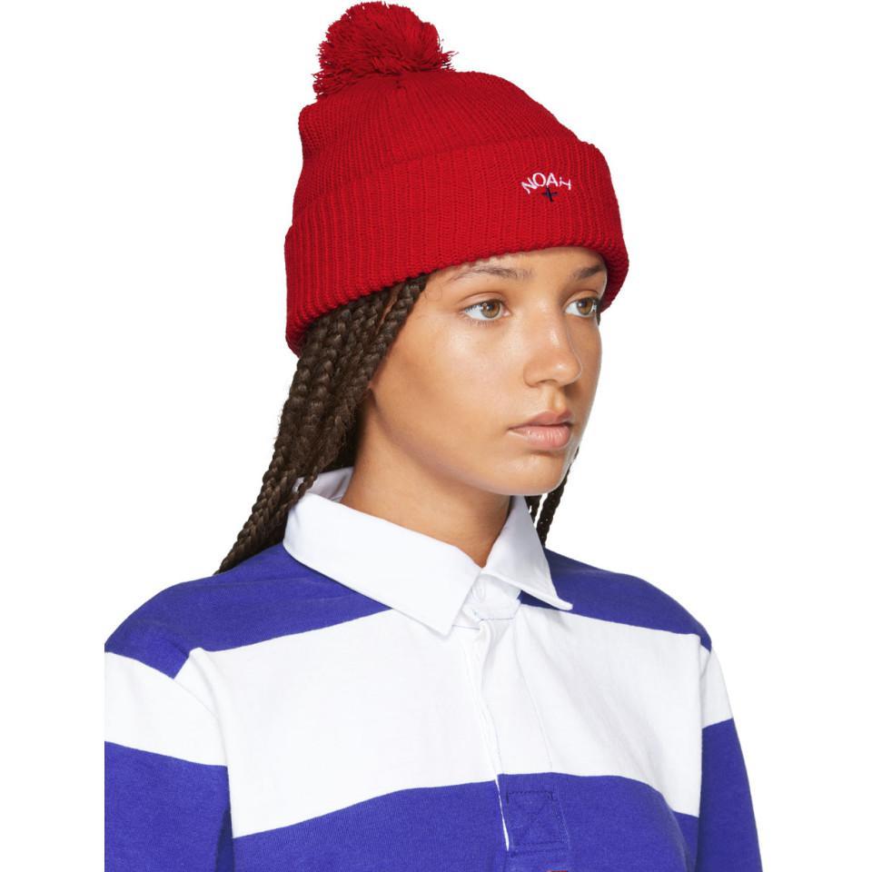 ca21578edca Lyst - Noah Red Pom Pom Beanie in Blue