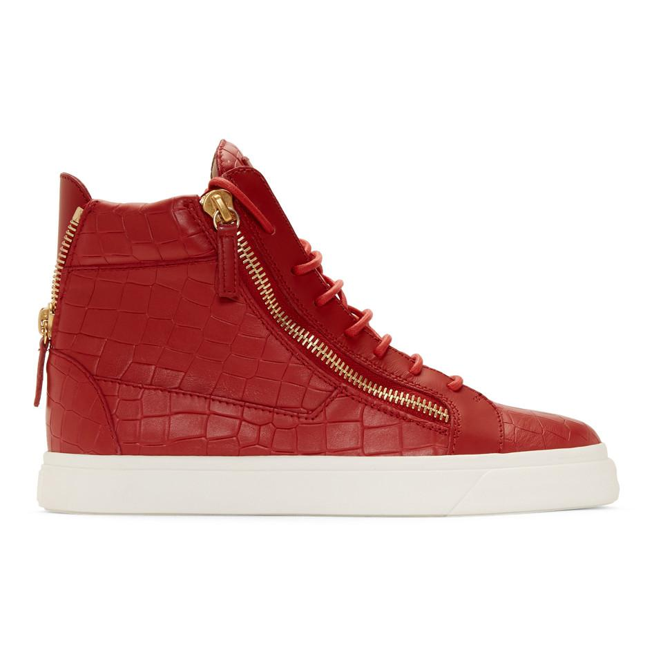 meet f3f34 831f4 Lyst - Giuseppe Zanotti Red Croc May London High-top Sneakers in Red ...