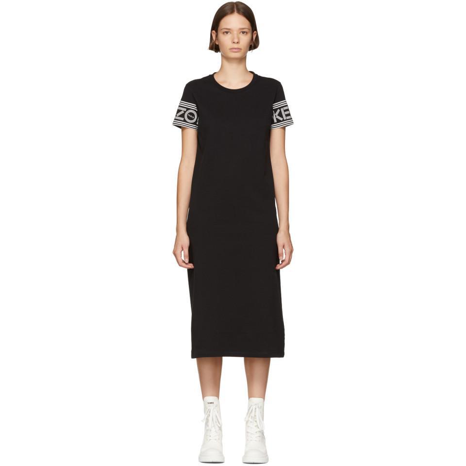 c09d48b7d2 Kenzo Black Logo Sport T-shirt Dress in Black - Lyst