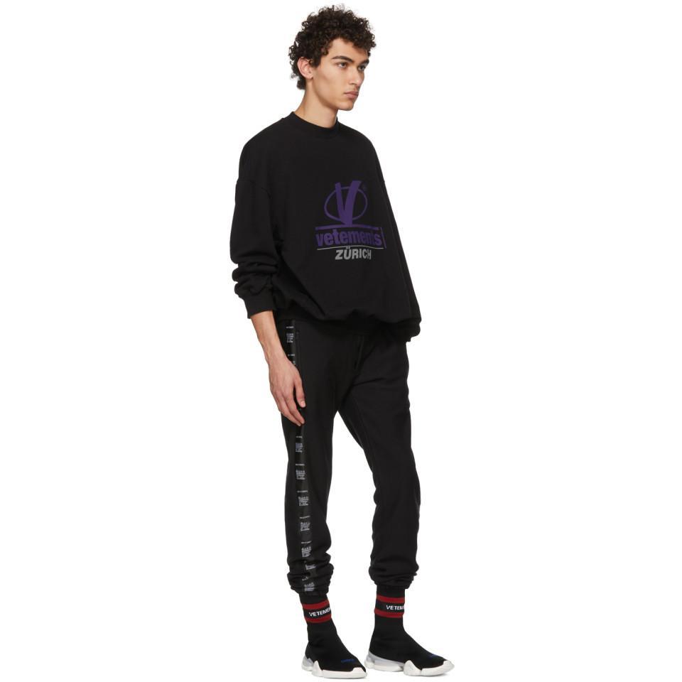 Lyst Vetements Black Zurich Sweatshirt In Black For Men
