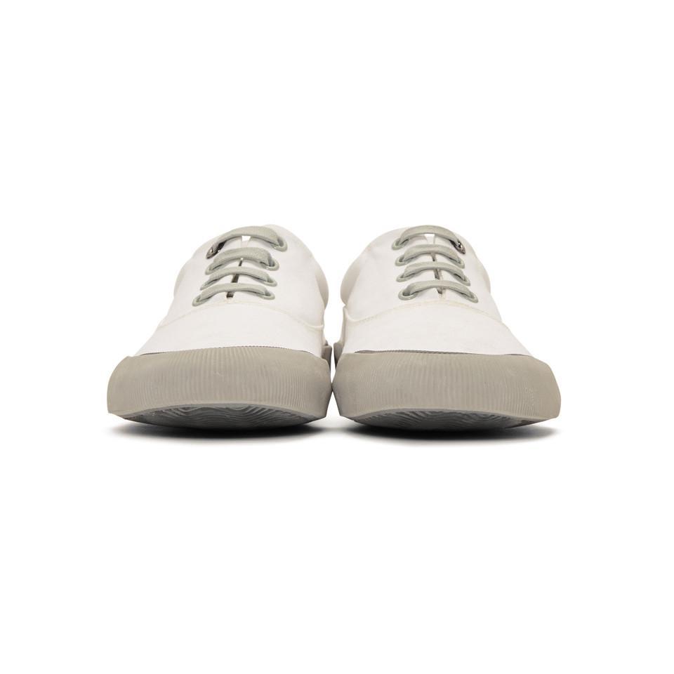 Lanvin White Destroy Canvas Oxford Sneakers fT2yFR1y