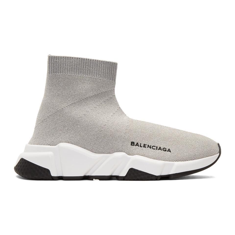 6db08c89fe3fd Balenciaga Silver Lurex Speed High-top Sneakers in Metallic - Lyst