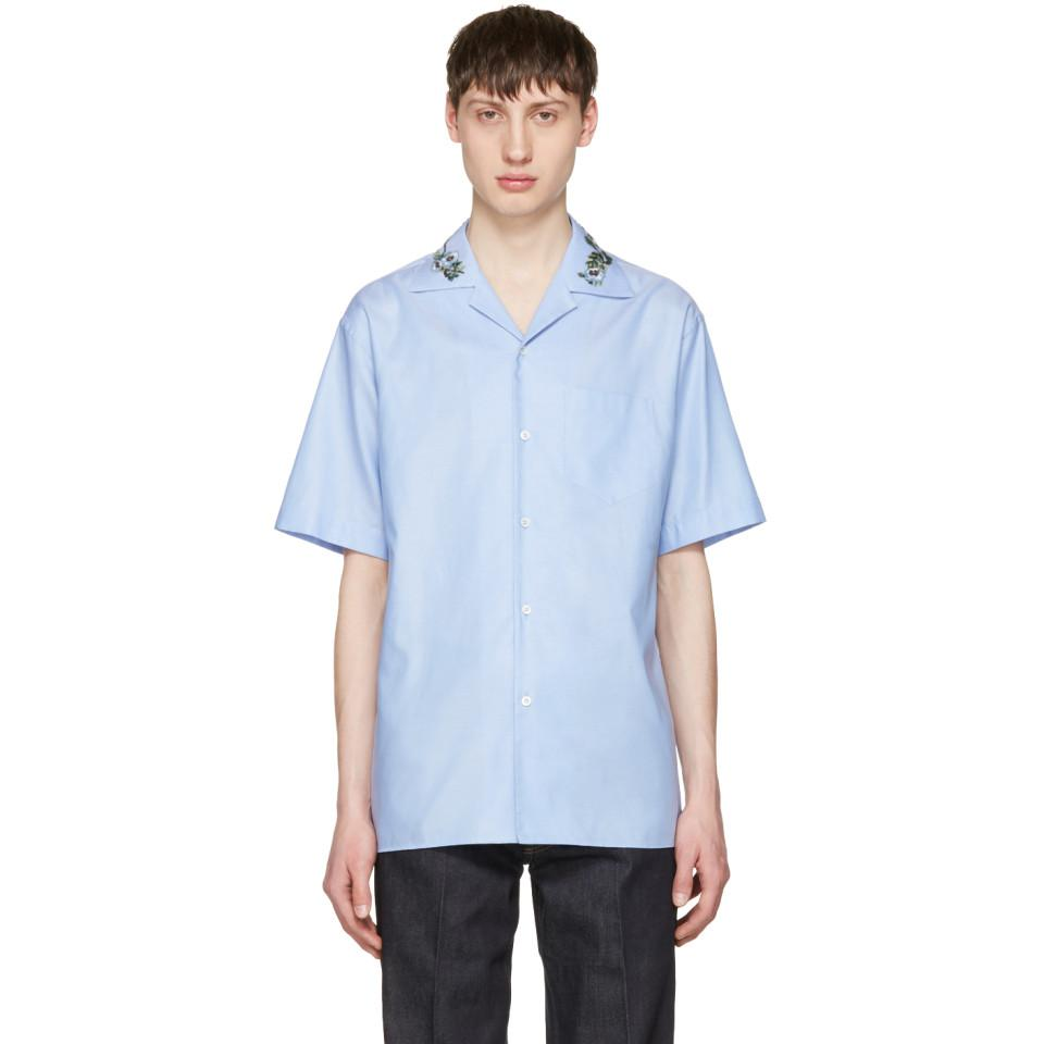 1c1f87e34 Gucci Blue Floral Bowling Shirt in Blue for Men - Lyst