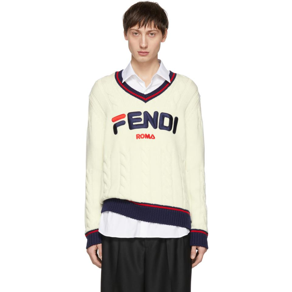 6fd39a3198e Lyst - Fendi Off-white Mania V-neck Sweater for Men