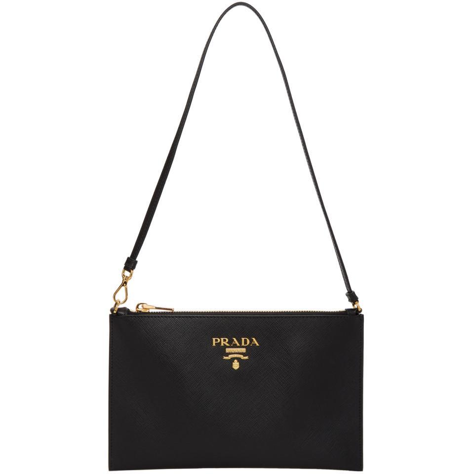 16dda3ef25c507 Prada Black Saffiano Pouch Bag in Black - Lyst