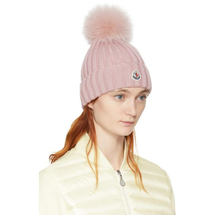6abd00ccf0d Lyst - Moncler Pink Ribbed Logo Pom Pom Beanie in Pink