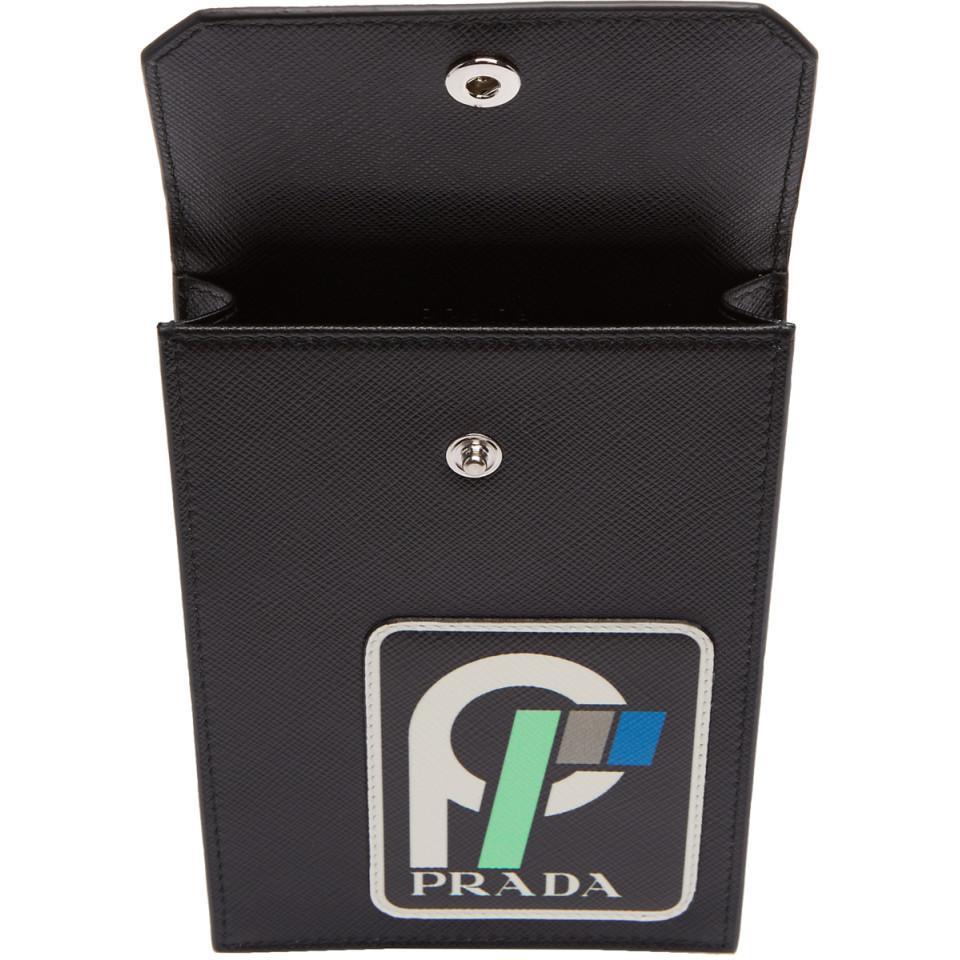 66feeaf7344d Lyst - Prada Black Saffiano Logo Pouch in Black for Men