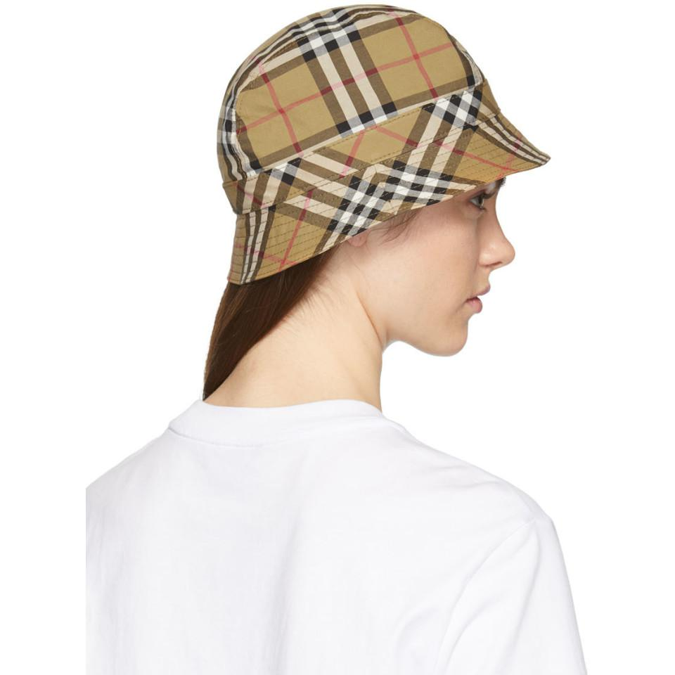 36d54f7a2aa5f9 Burberry Beige Rainbow Vintage Check Bucket Hat in Yellow - Lyst