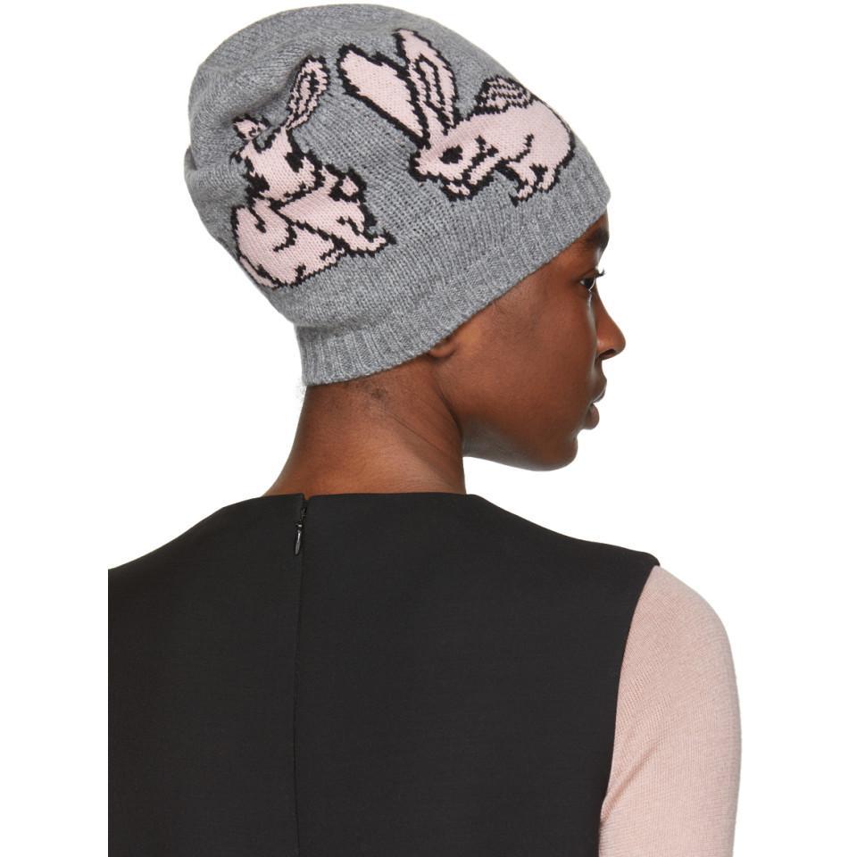 Pink and Grey Rabbits Beanie Prada JBCLWq