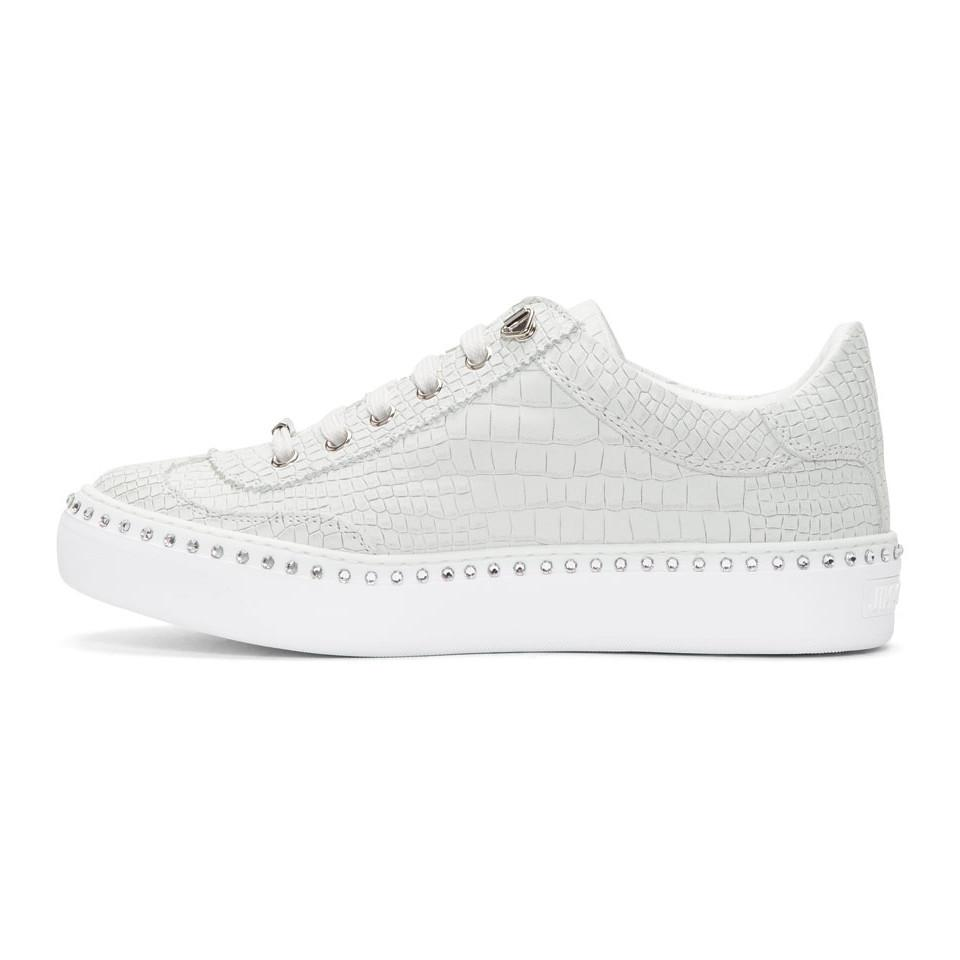 White Croc Crystal Ace Sneakers Jimmy Choo London 2018 New Online Wholesale Price Cheap Price Wholesale Online Lowest Price Cheap Price Cheap Extremely TZT0A