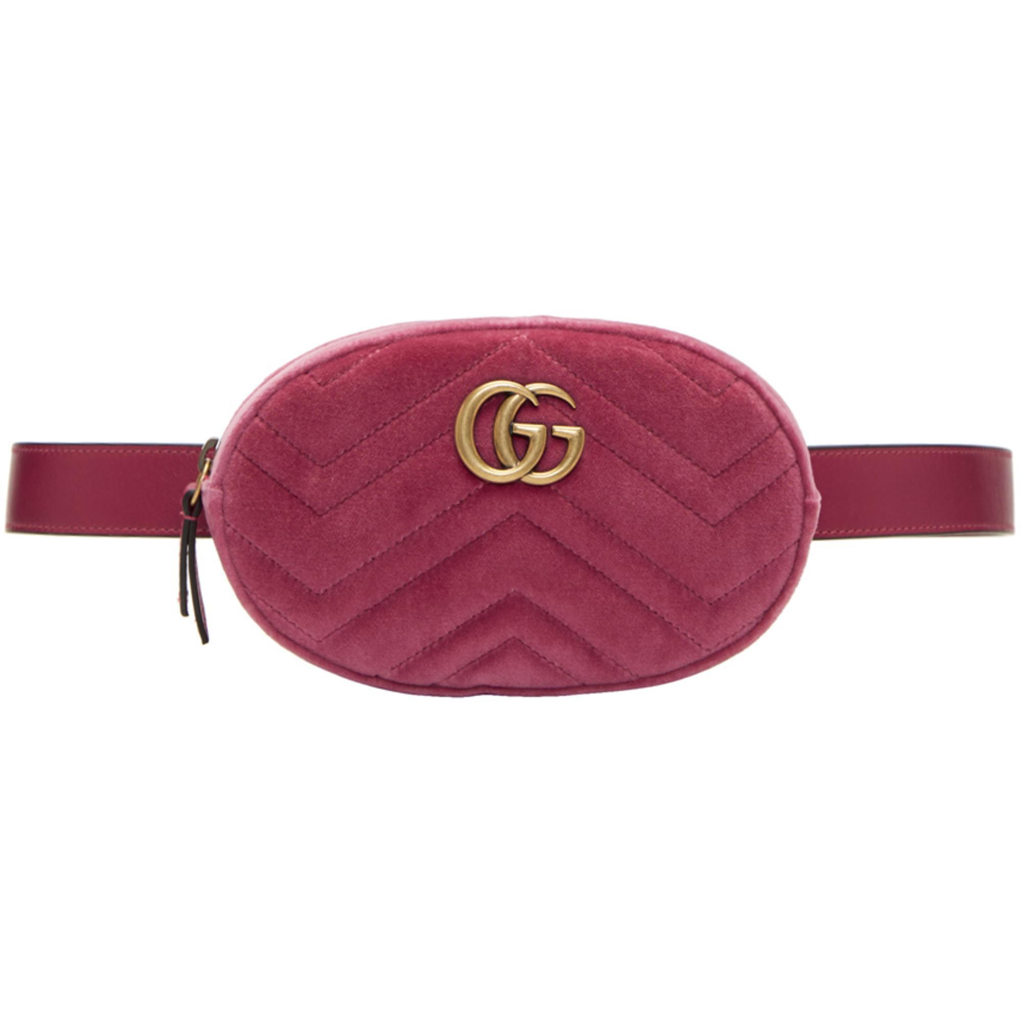 Lyst - Sac-ceinture en velours rose GG Marmont Matelassé Gucci en ... 8978e090f35