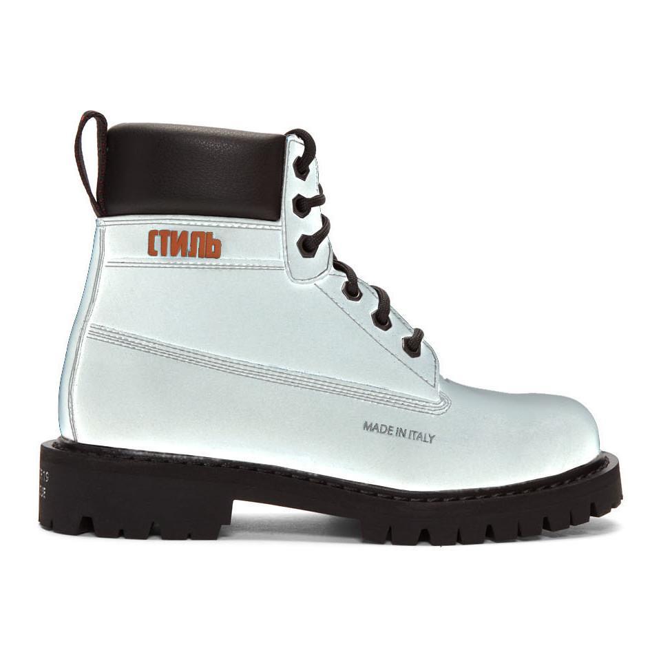 c8524b9f8a2 Heron Preston - Black Reflective Worker Boots for Men - Lyst