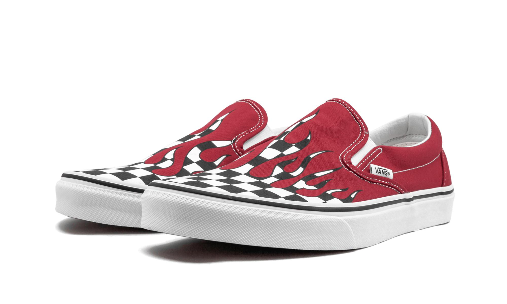 cdc337859c95 Lyst - Vans Classic Slip-on Checker Flame in Red for Men