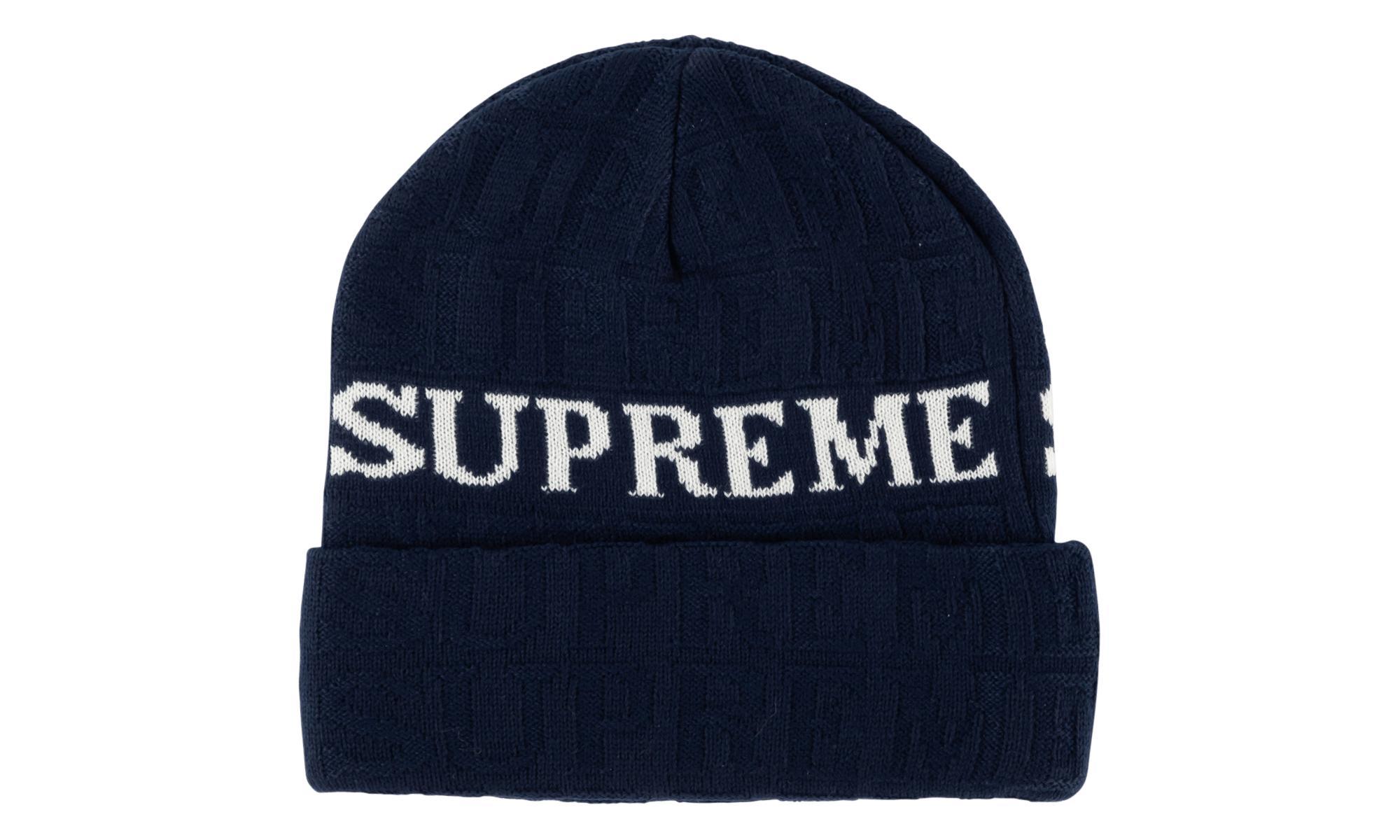 a469931b639 Lyst - Supreme Jacqard Logo Beanie in Blue for Men