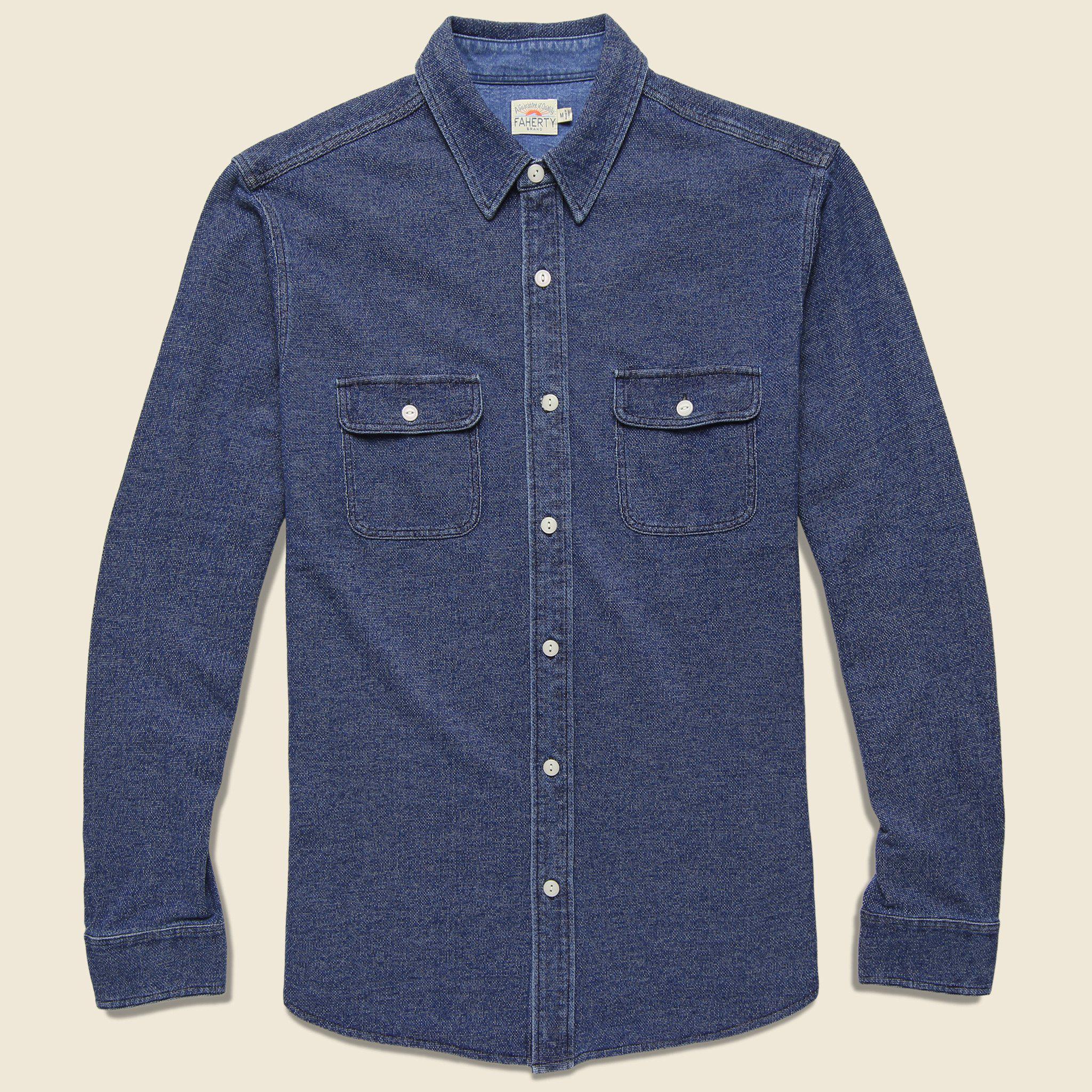 9bda34f7c3 Lyst - Faherty Brand Knit Belmar Shirt - Medium Indigo in Blue for Men