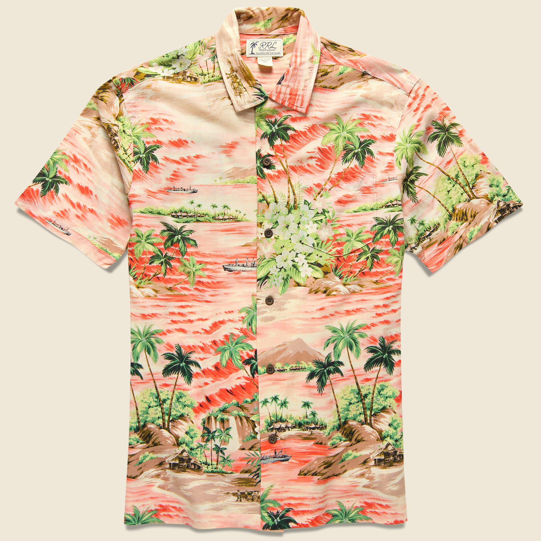 77442371 RRL Aloha Camp Shirt - Coral in Green for Men - Lyst