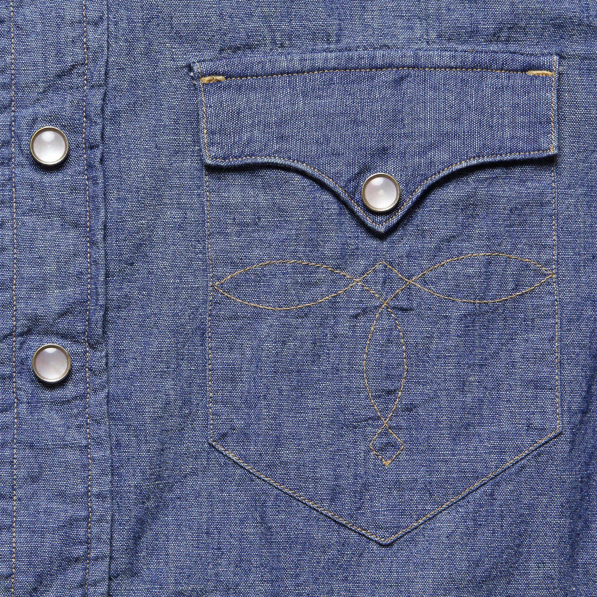 ac5504dff7 RRL - Buffalo Western Shirt - Blue Chambray for Men - Lyst. View fullscreen