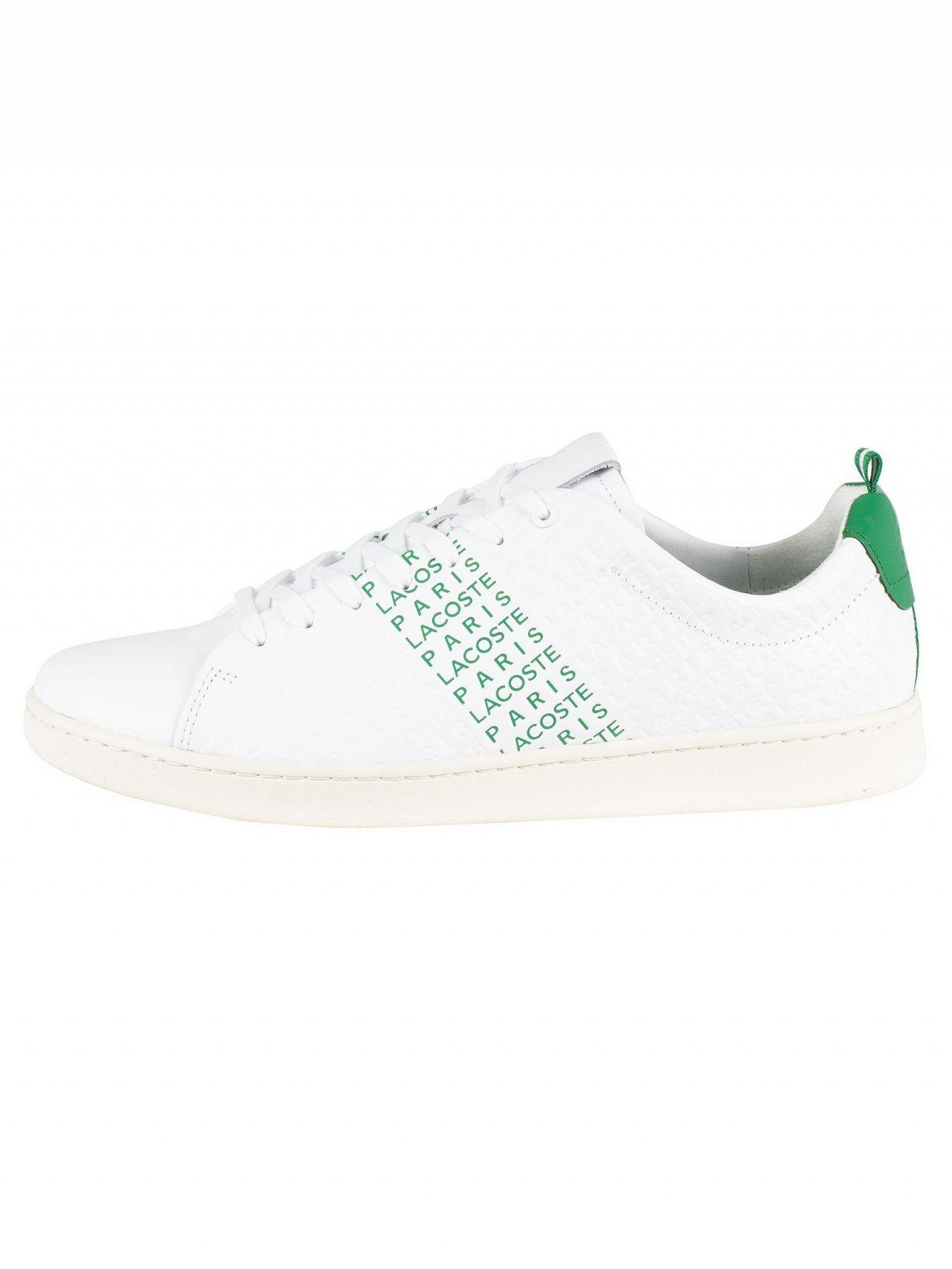 6b0e6a99d Lyst - Lacoste White green Carnaby Evo 119 9 Leather Trainers in White for  Men