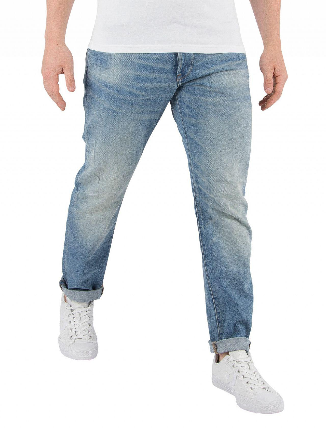 414435158df G-Star RAW Medium Vintage Aged 3301 Straight Tapered Jeans in Blue ...