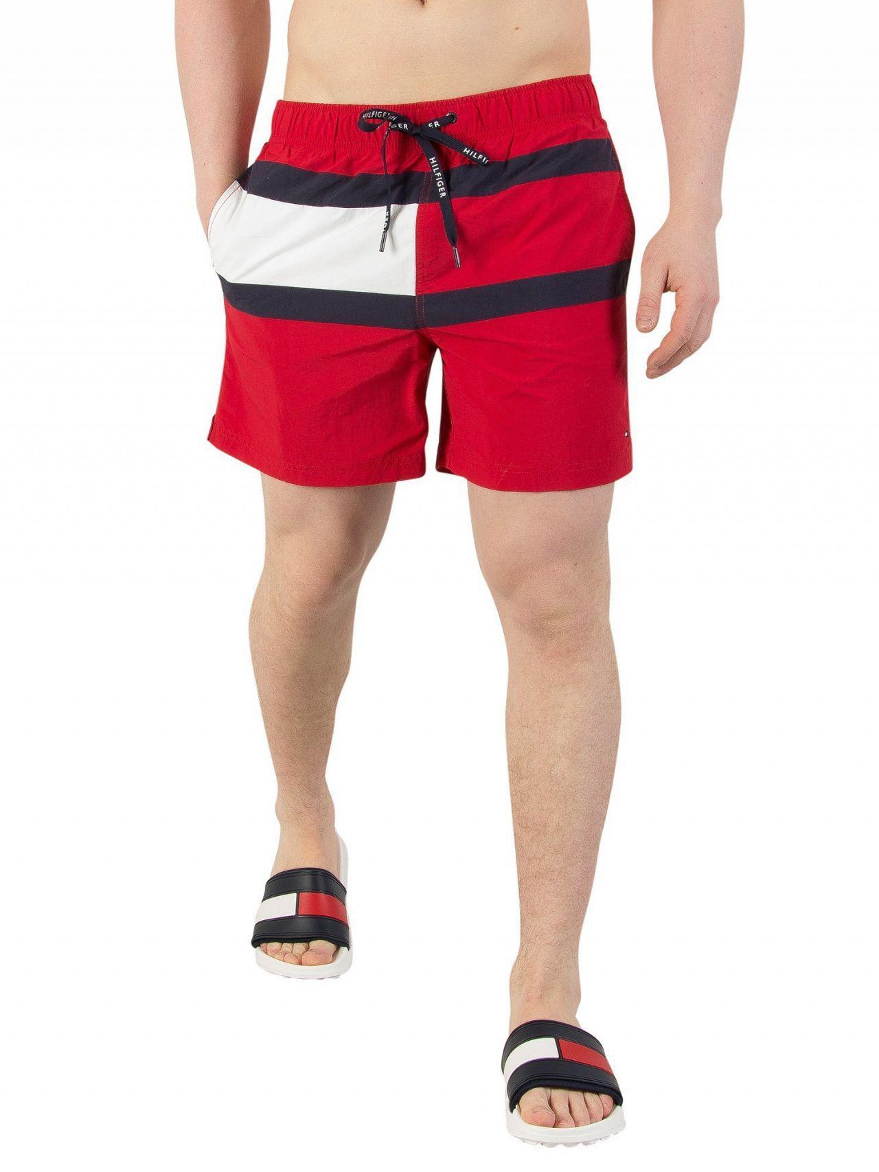 ded6a44a18 Tommy Hilfiger Men's Medium Drawstring Swim Shorts, Red Men's Shorts ...