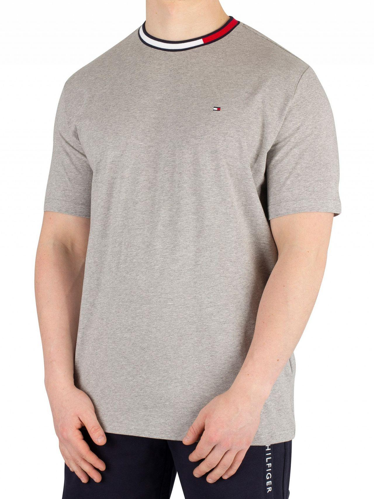 5f9d8161 Tommy Hilfiger Grey Heather Logo Collar T-shirt in Gray for Men - Lyst