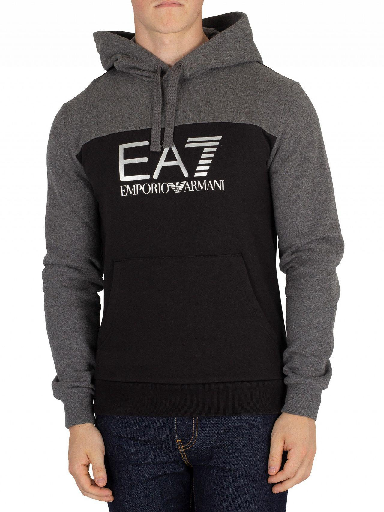 d8f4bc19f19 Lyst - Ea7 Black grey Graphic Pullover Hoodie in Black for Men