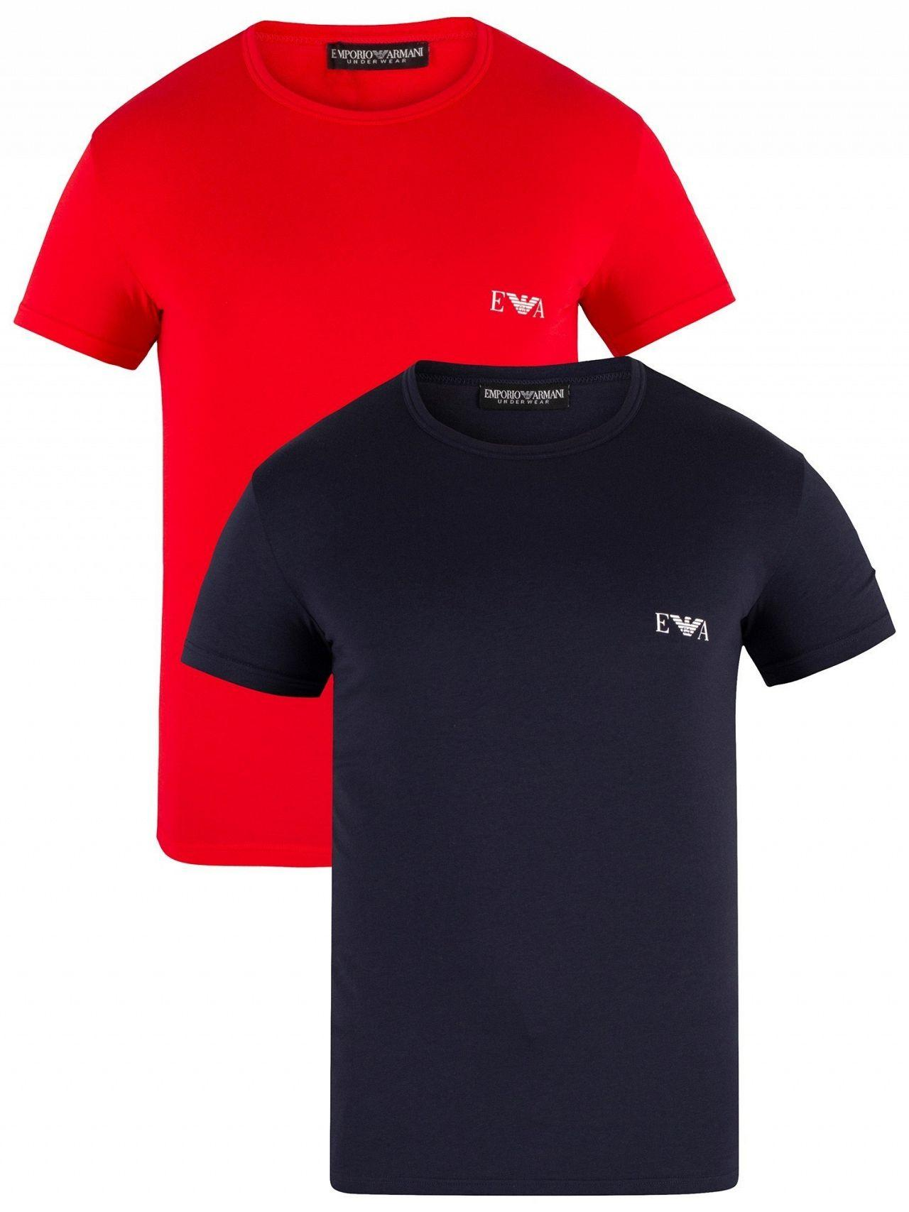 7fbe92e9b9ba4 Emporio Armani - Red marine 2 Pack Crew T-shirts for Men - Lyst. View  fullscreen