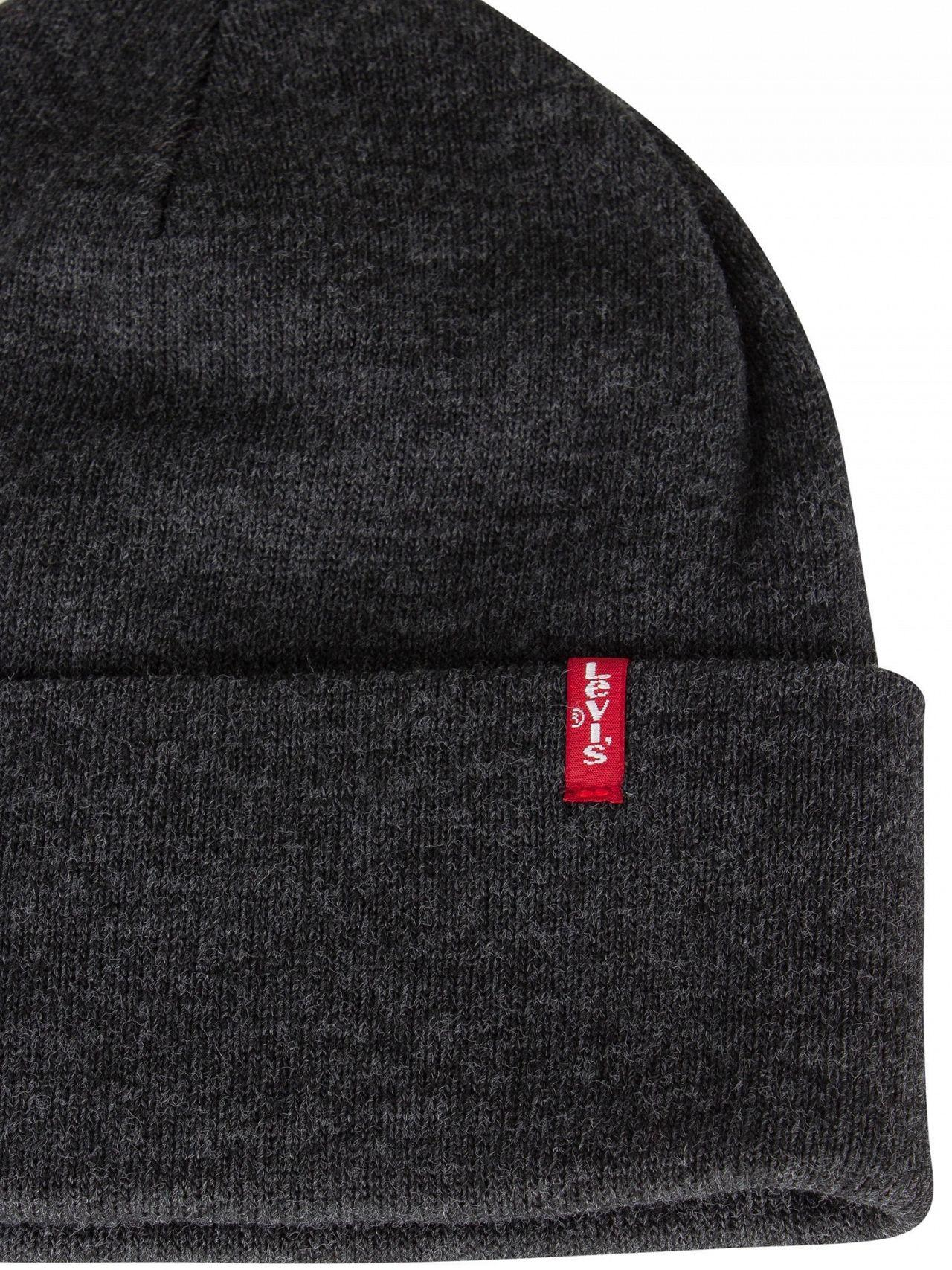615b94dc664 Lyst - Levi s Dark Grey Slouchy Red Tab Beanie in Gray for Men