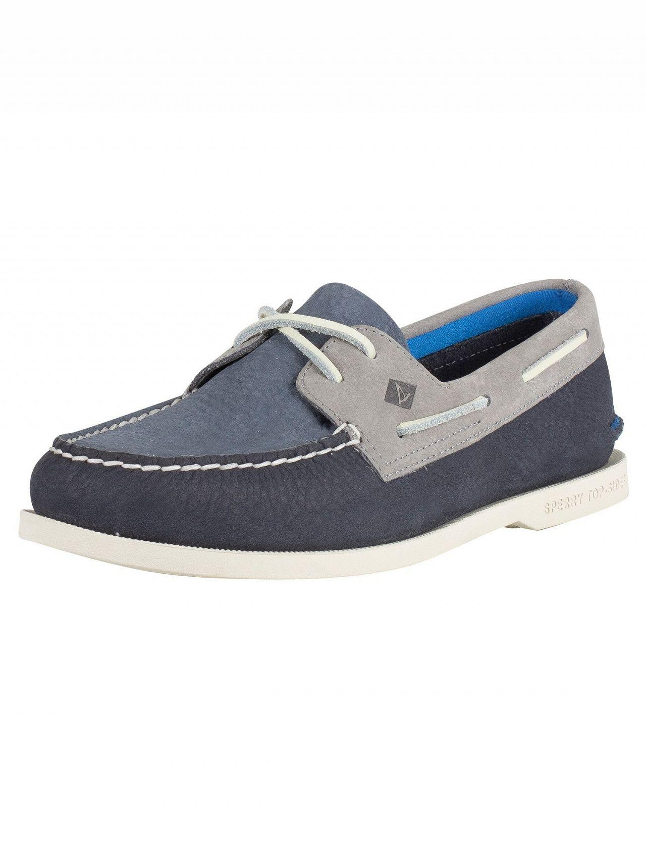 Sperry Top-Sider. Men s Blue Navy grey A o 2- Eye Plush Washable Boat Shoes 3313f3944c2