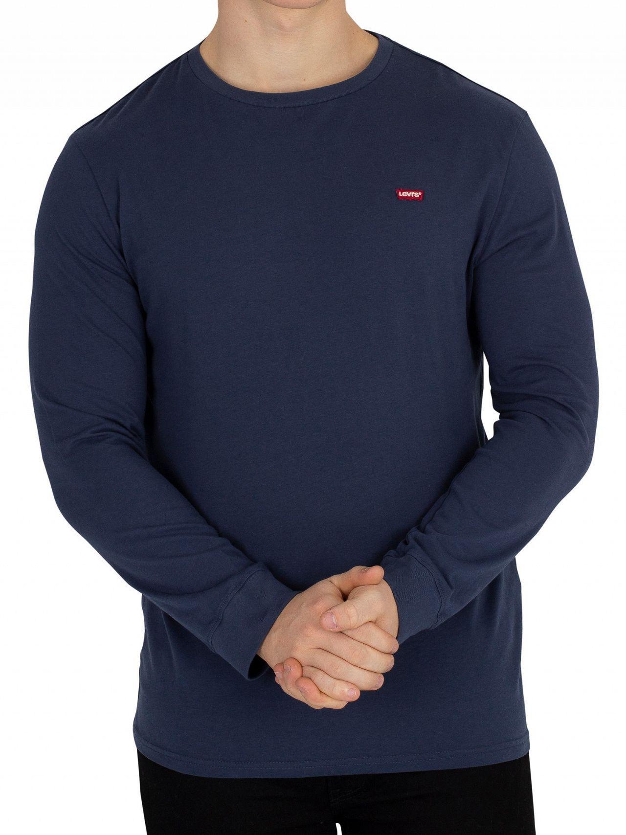 f1a9937d342f Lyst - Levi's Navy Longsleeved Original T-shirt in Blue for Men