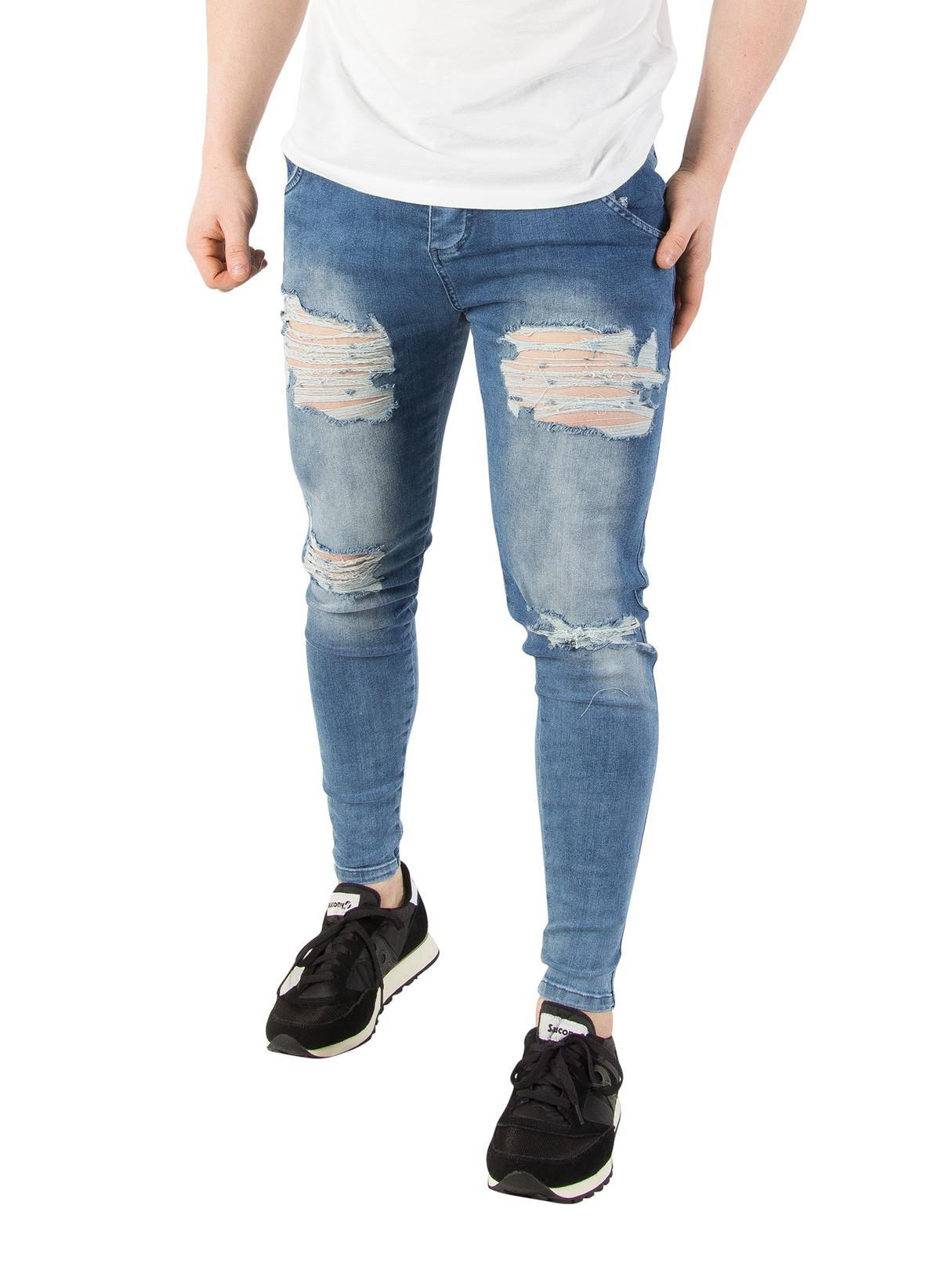 Super Skinny Fit Jeans In Acid Blue With Distressing - Blue Siksilk nxRuz