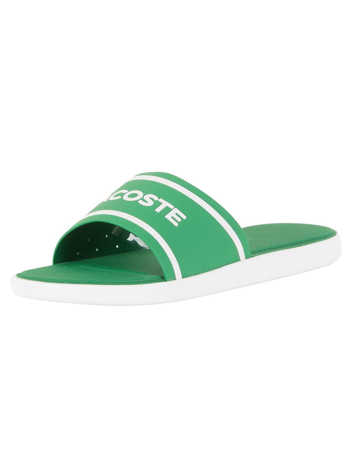 0f4bd7f0bd4b6 Lyst - Lacoste Green white L.30 Slide 118 3 Cam Flip Flops in Green ...