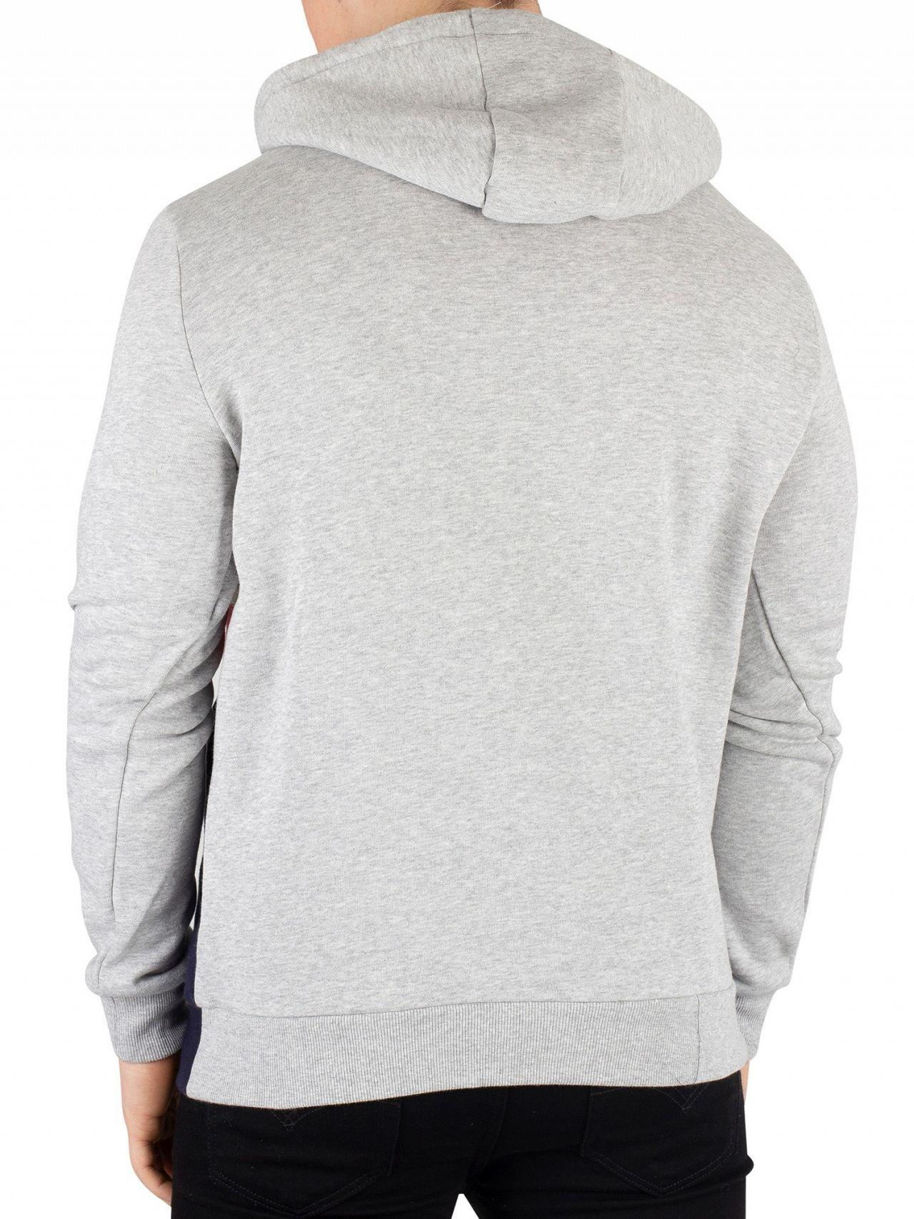 fe6f78e7b03b Fila Vintage Light Grey Marl Rumi Colour Block 1/4 Zip Hoodie in ...