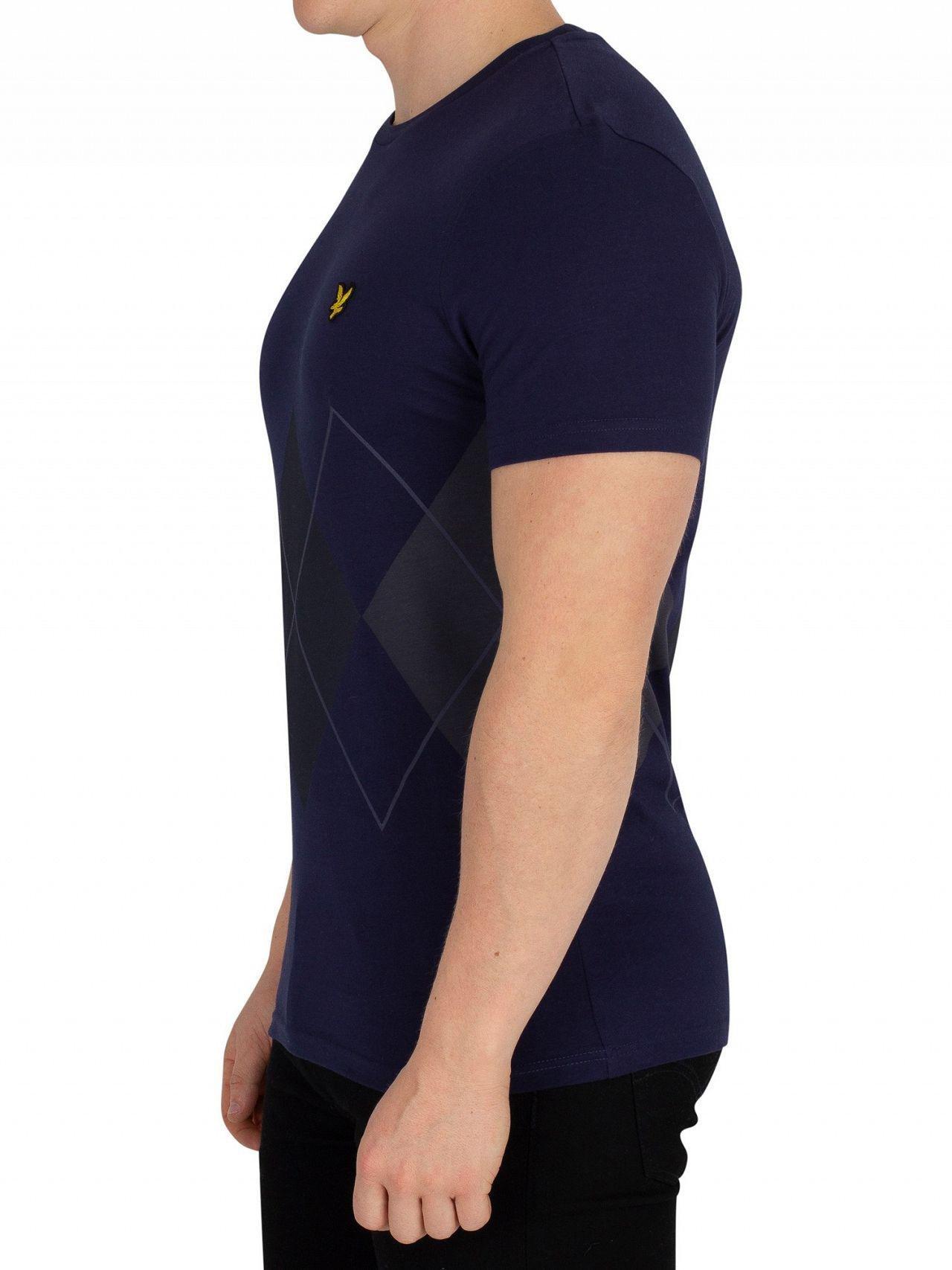 8ecce33e77f Lyle   Scott Navy Argyle T-shirt in Blue for Men - Lyst