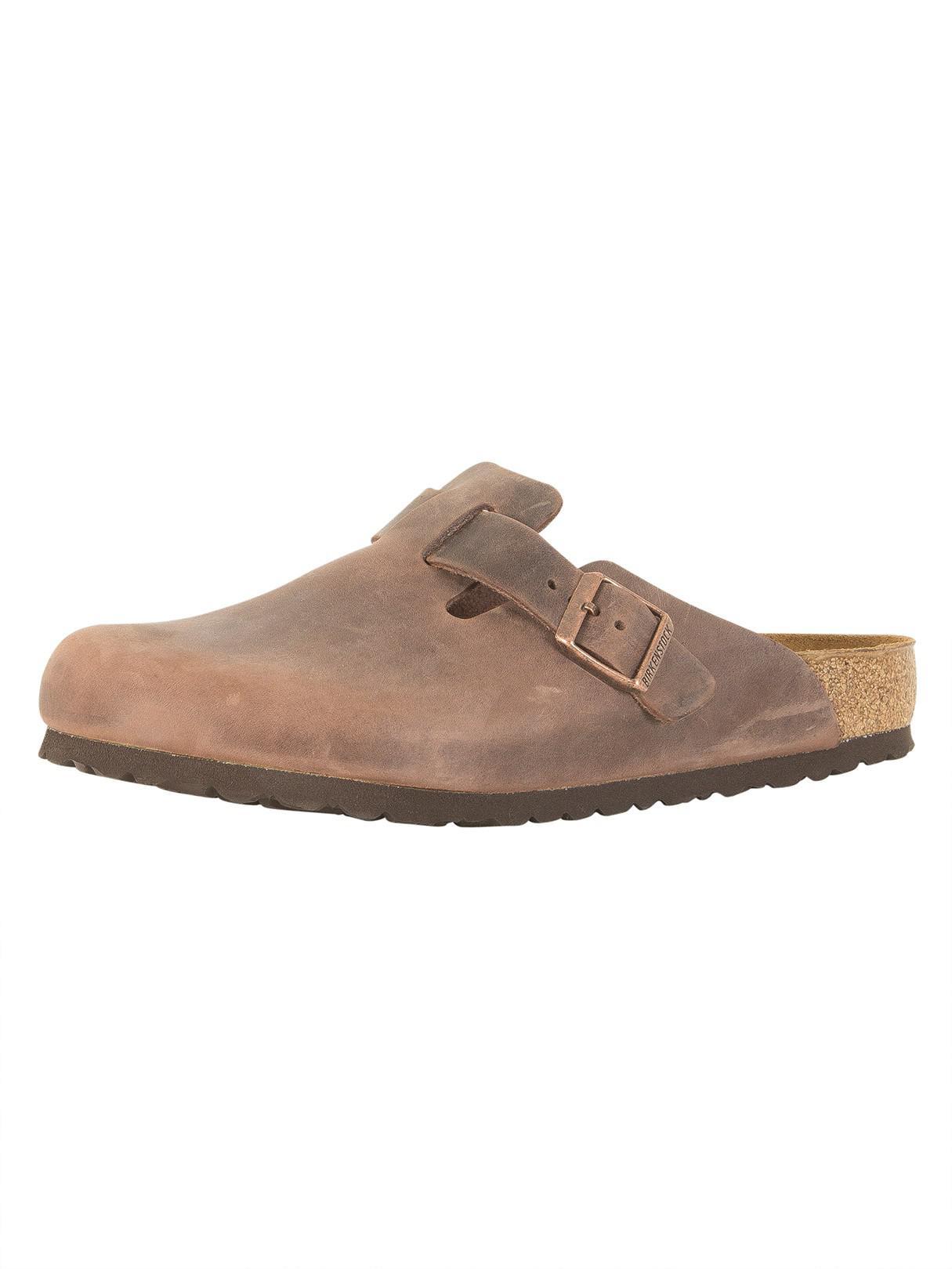 20b1cb98bd7e Birkenstock Habana Boston Oiled Leather Slip On Sandals in Brown for ...