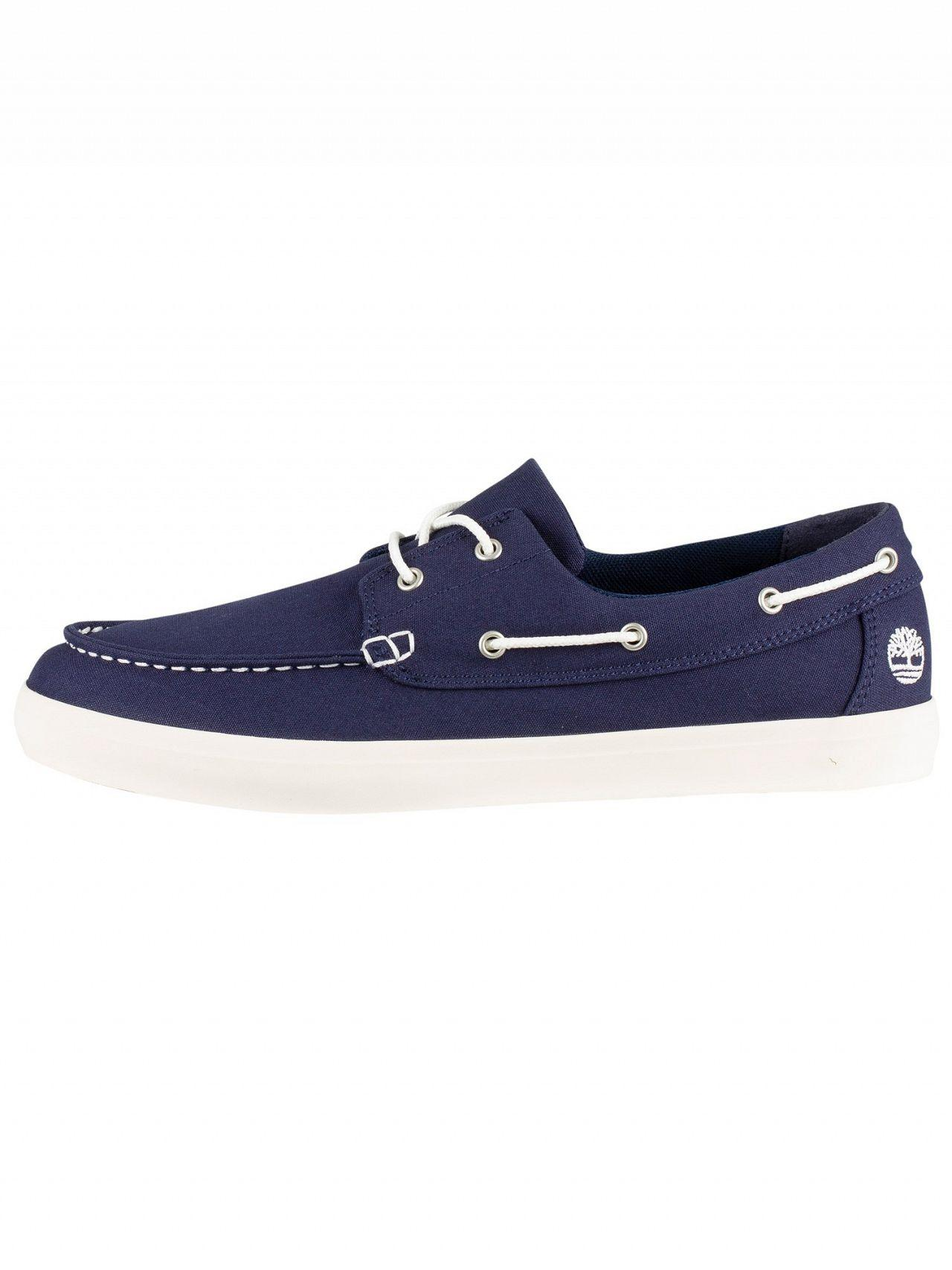 5a510503daa Lyst - Timberland Black Iris Navy Union Wharf Boat Shoes in Black for Men