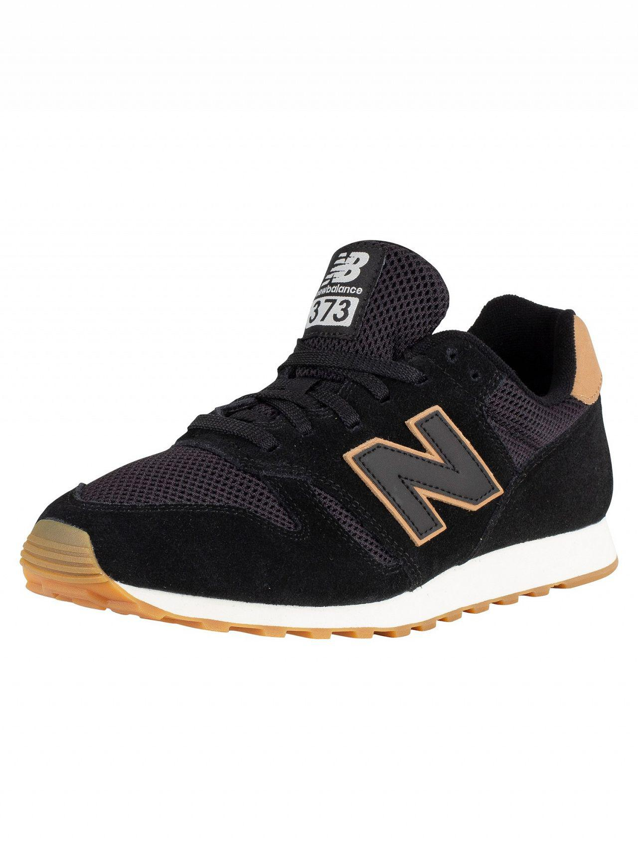 5d6ee69b359 Lyst - New Balance Black tan 373 Suede Trainers in Black for Men