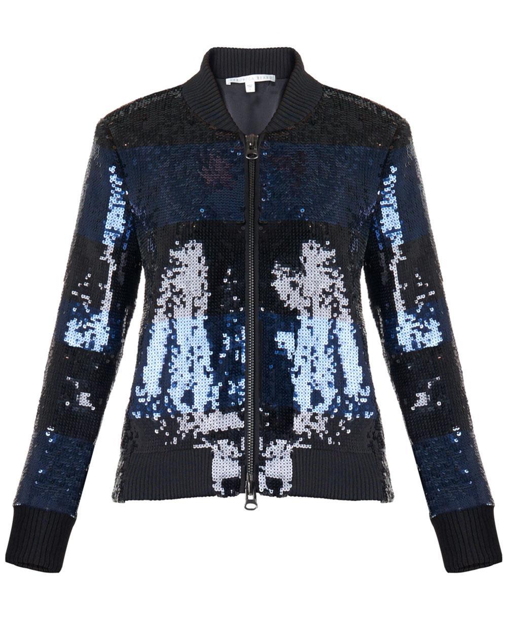 Lyst Veronica Beard Lexington Sequined Bomber Jacket In Blue