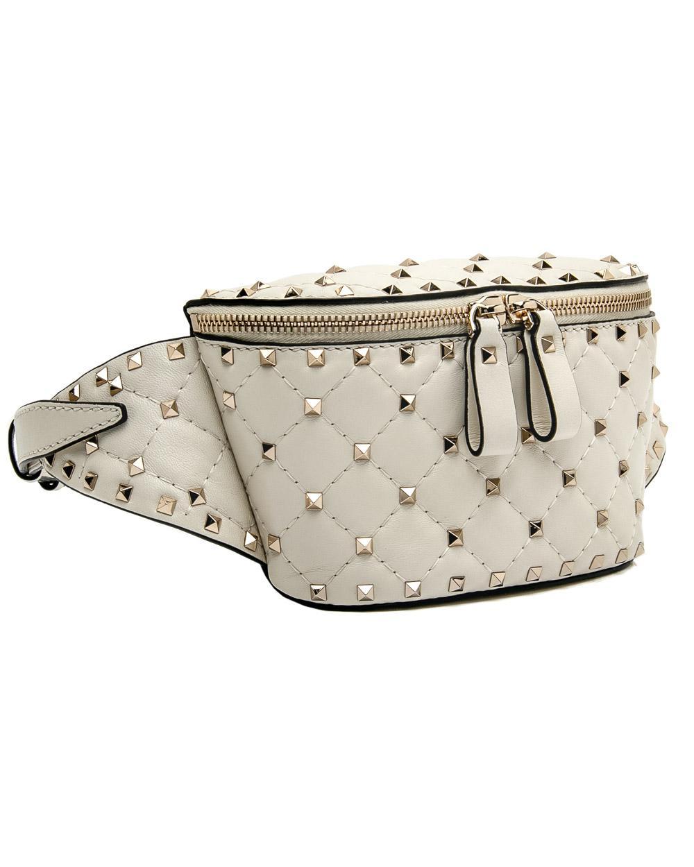 e3f69812a Lyst - Valentino Ivory Free Rockstud Spike Belt Bag in White