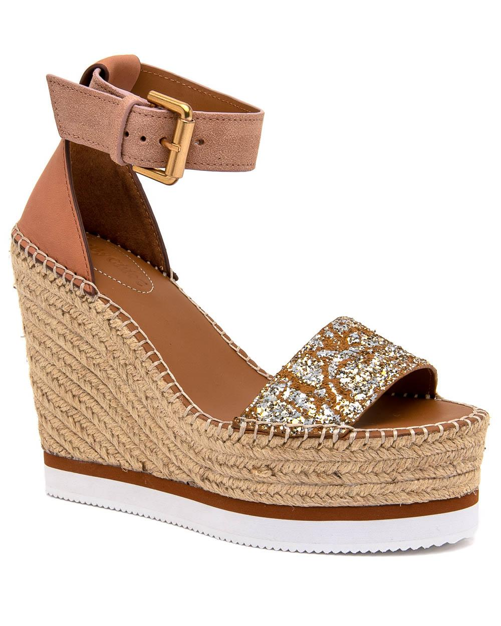 1bc28644318 See By Chloé - Brown Glyn Espadrille Wedge Sandal In Glitter - Lyst. View  fullscreen